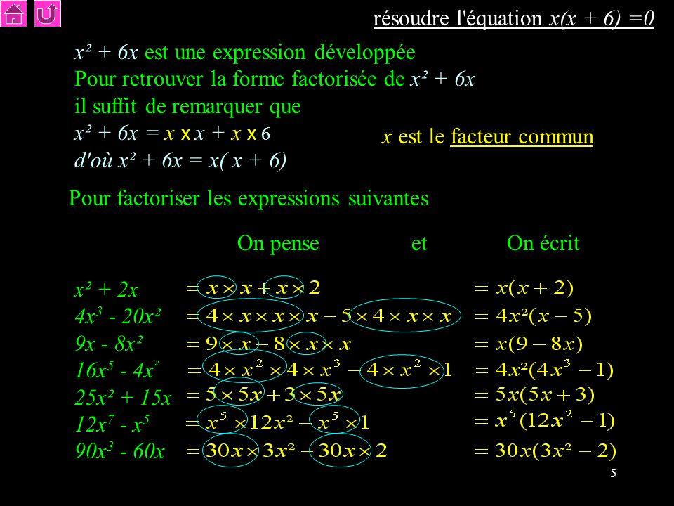 résoudre l équation x(x + 6) =0