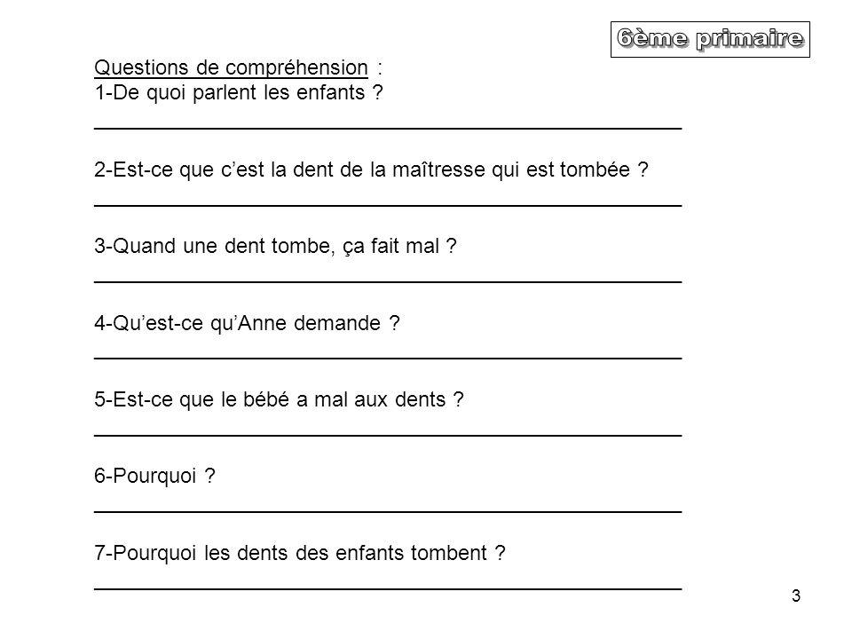 6ème primaire Questions de compréhension :