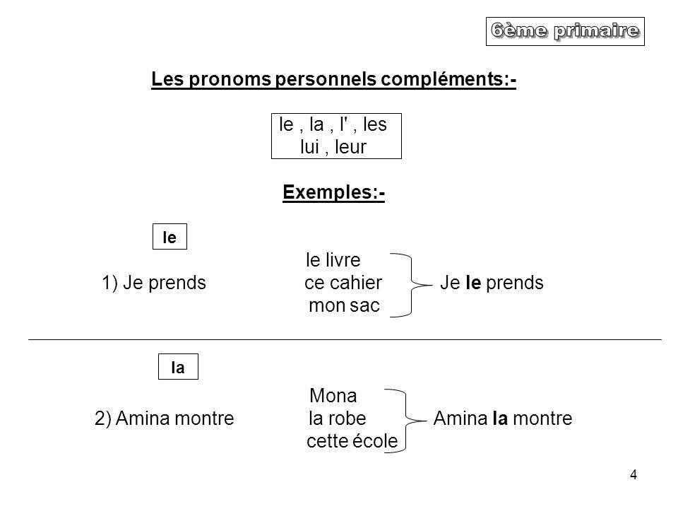 Les pronoms personnels compléments:-