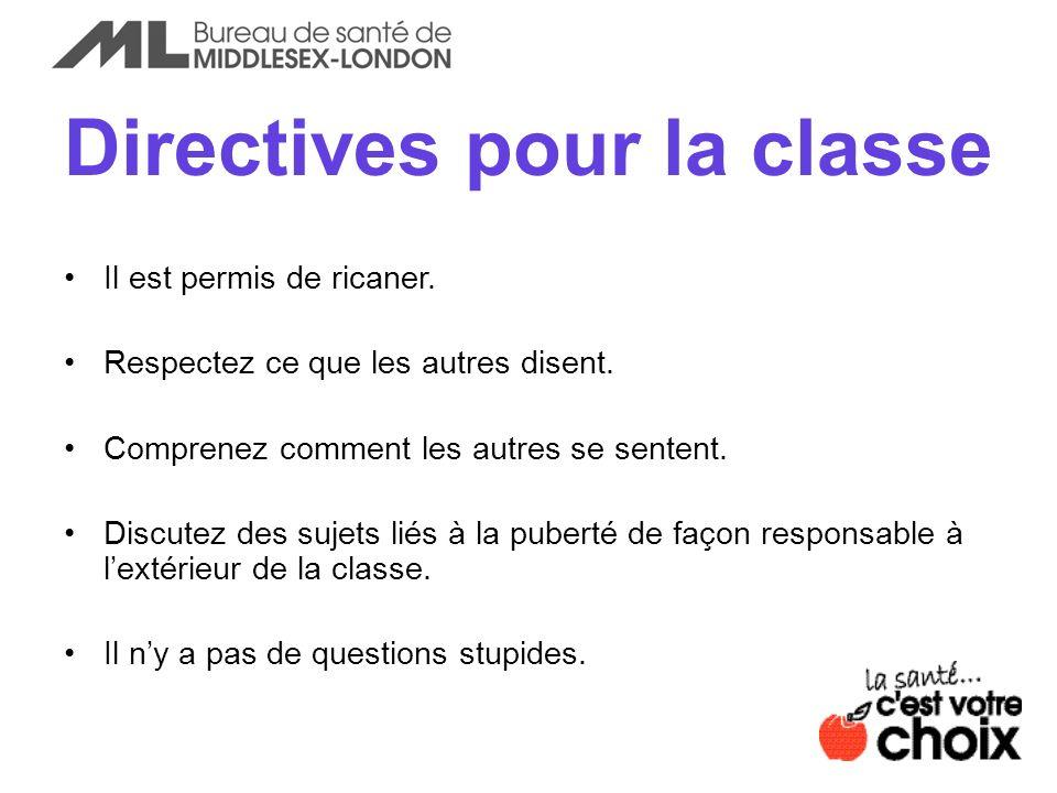 Directives pour la classe
