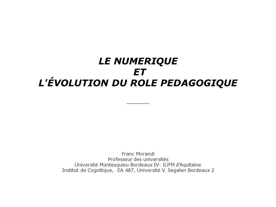 L ÉVOLUTION DU ROLE PEDAGOGIQUE