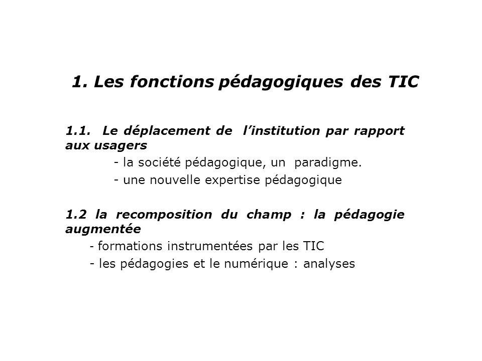 1. Les fonctions pédagogiques des TIC