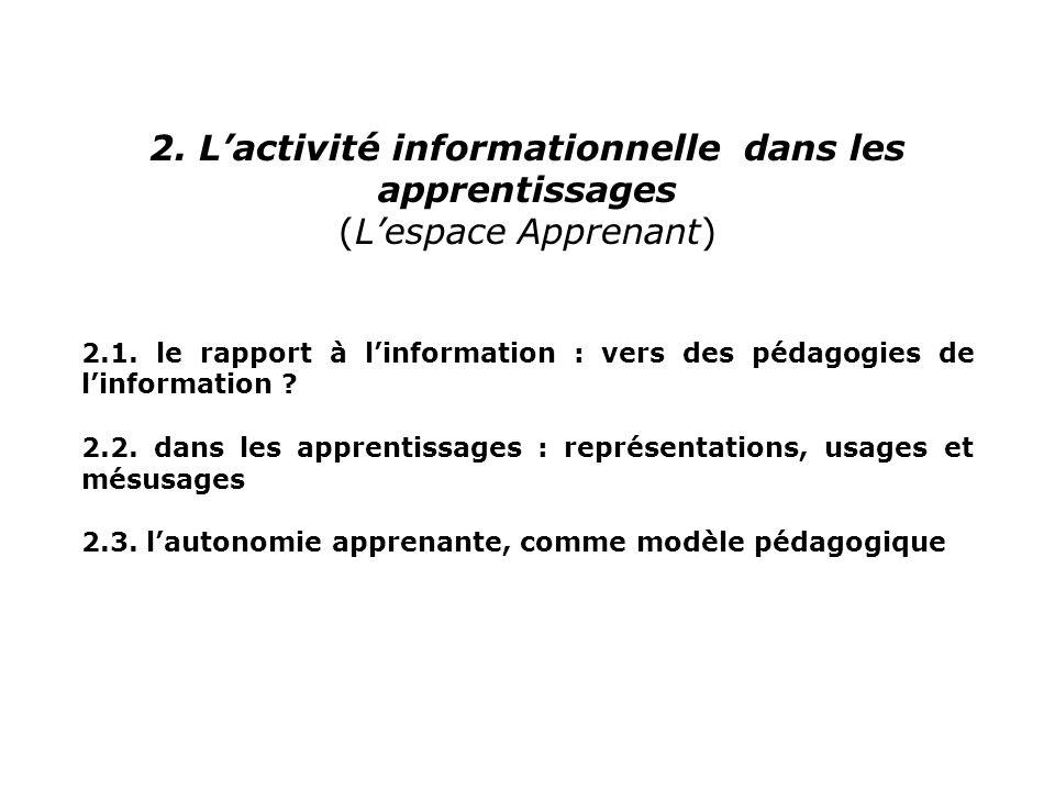 2. L'activité informationnelle dans les apprentissages