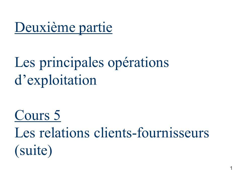 Deuxième partie Les principales opérations d'exploitation Cours 5 Les relations clients-fournisseurs (suite)