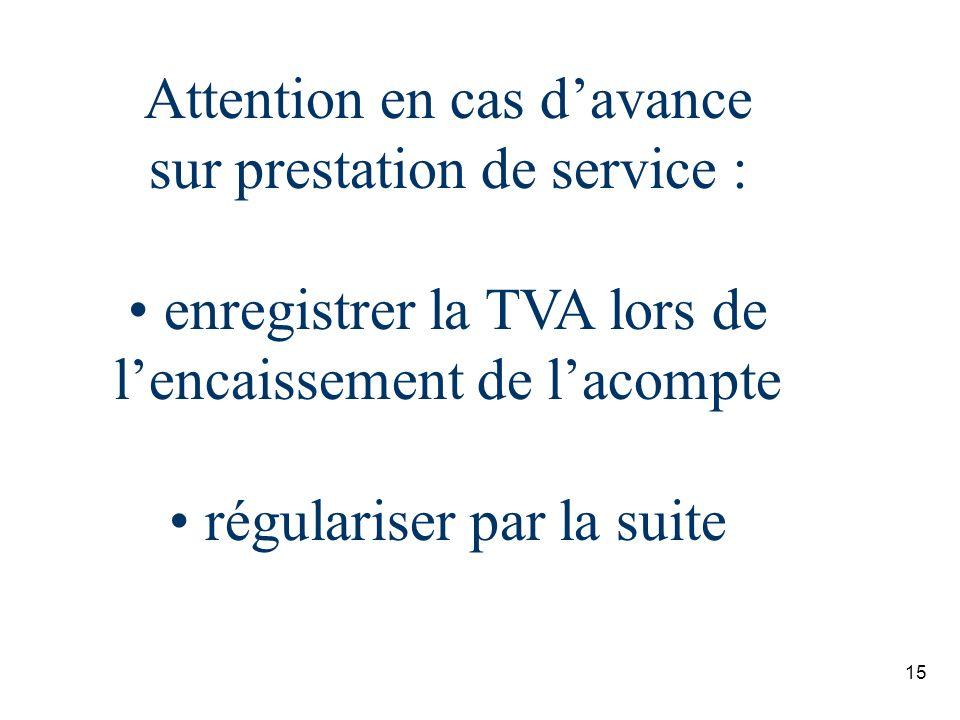 Attention en cas d'avance sur prestation de service :