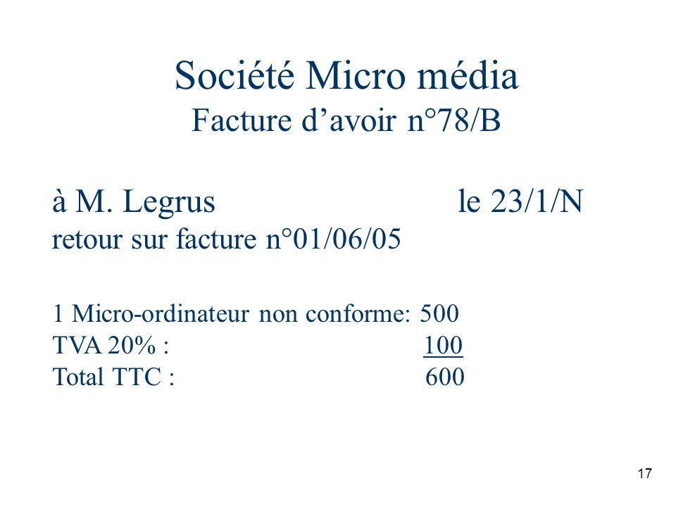 Société Micro média Facture d'avoir n°78/B à M. Legrus le 23/1/N