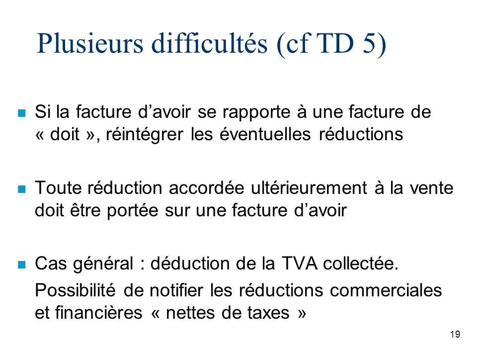 Plusieurs difficultés (cf TD 5)