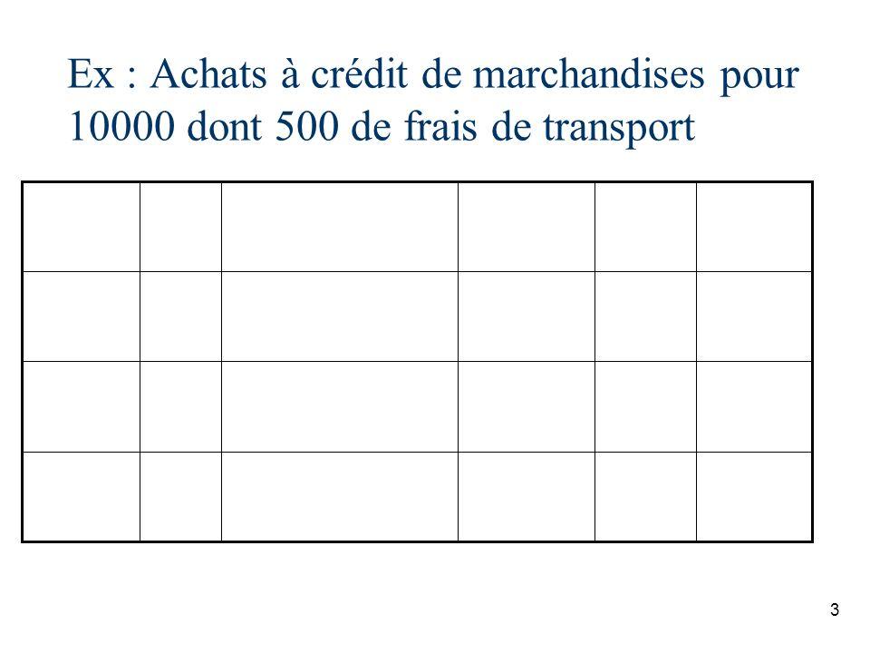 Ex : Achats à crédit de marchandises pour 10000 dont 500 de frais de transport