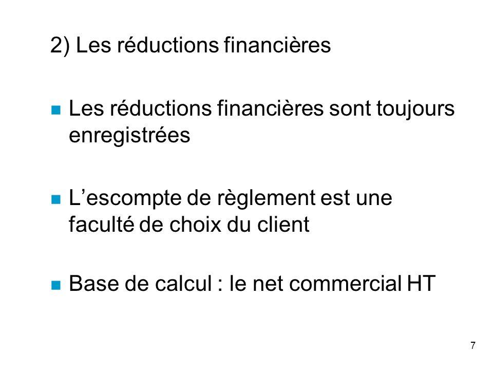 2) Les réductions financières