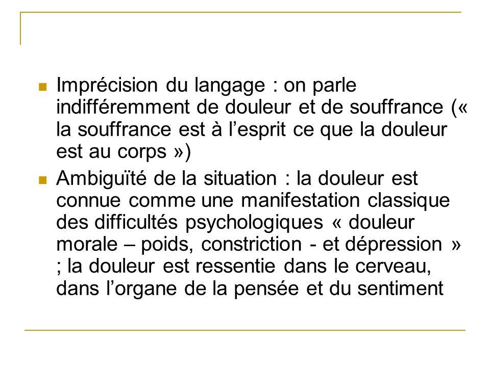Imprécision du langage : on parle indifféremment de douleur et de souffrance (« la souffrance est à l'esprit ce que la douleur est au corps »)