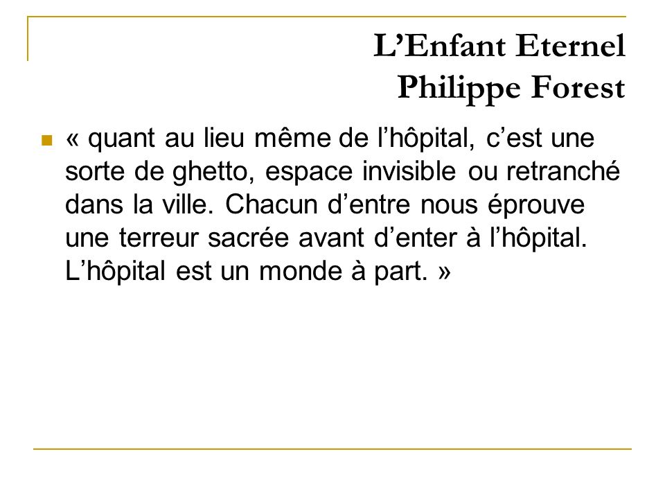 L'Enfant Eternel Philippe Forest