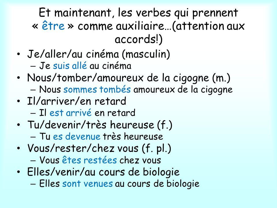 Et maintenant, les verbes qui prennent « être » comme auxiliaire…(attention aux accords!)