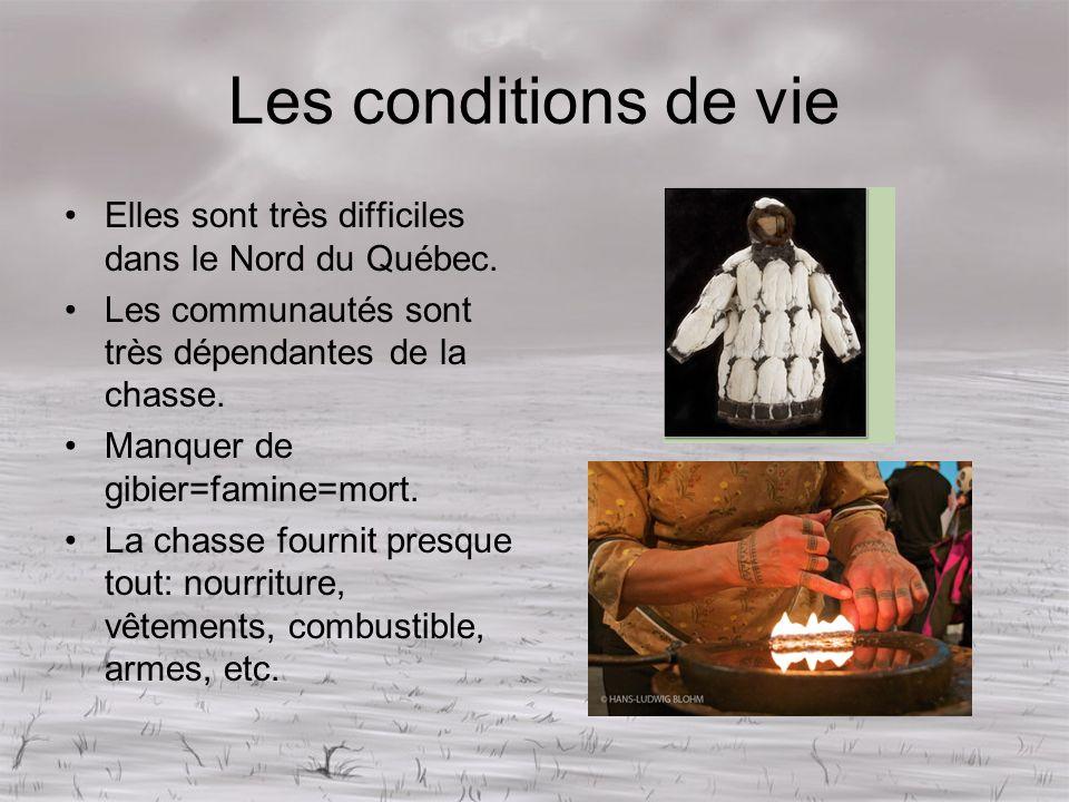 Les conditions de vie Elles sont très difficiles dans le Nord du Québec. Les communautés sont très dépendantes de la chasse.