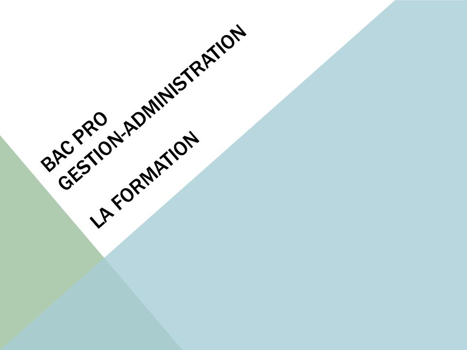 Bac pro gestion-administration La formation