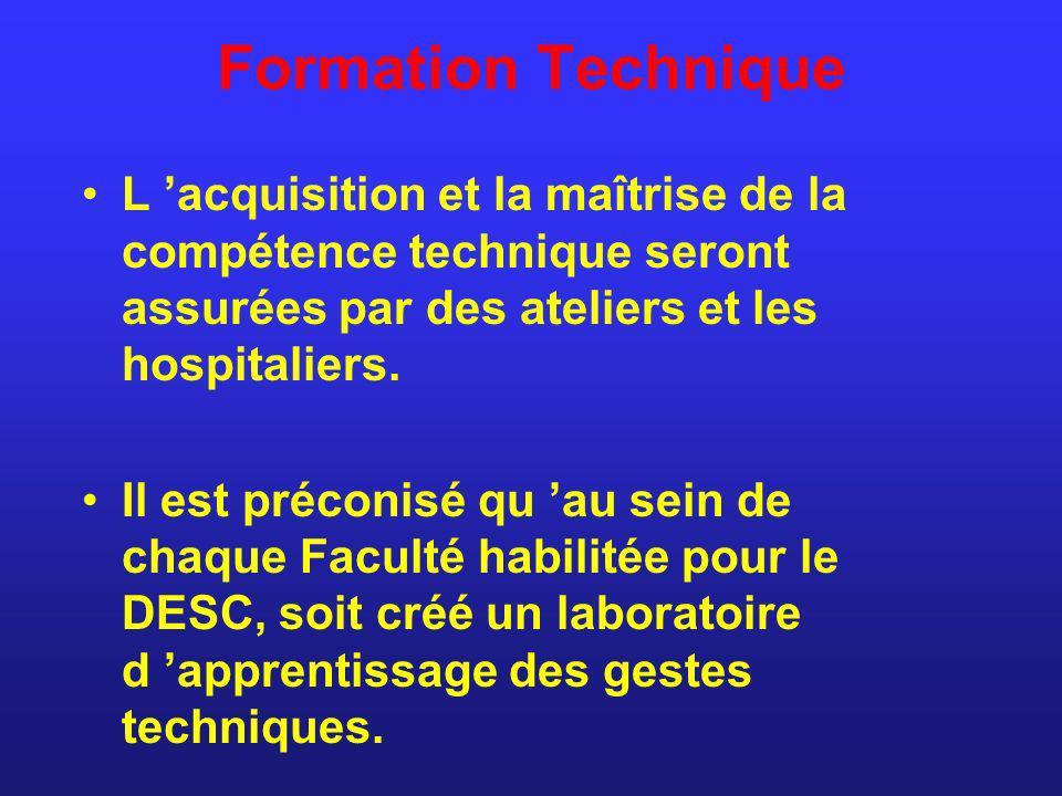 Formation Technique L 'acquisition et la maîtrise de la compétence technique seront assurées par des ateliers et les hospitaliers.