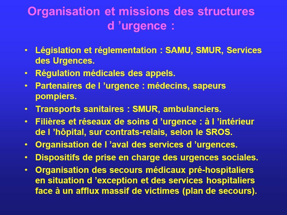 Organisation et missions des structures d 'urgence :