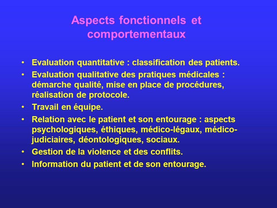 Aspects fonctionnels et comportementaux
