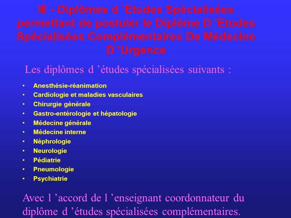 Les diplômes d 'études spécialisées suivants :