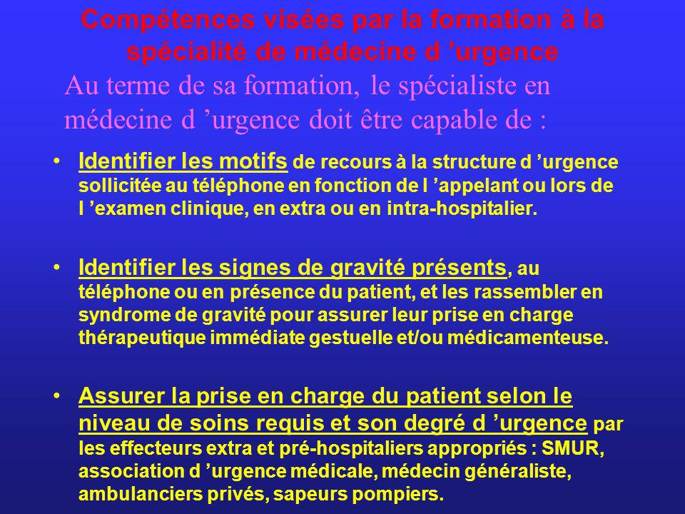 Compétences visées par la formation à la spécialité de médecine d 'urgence