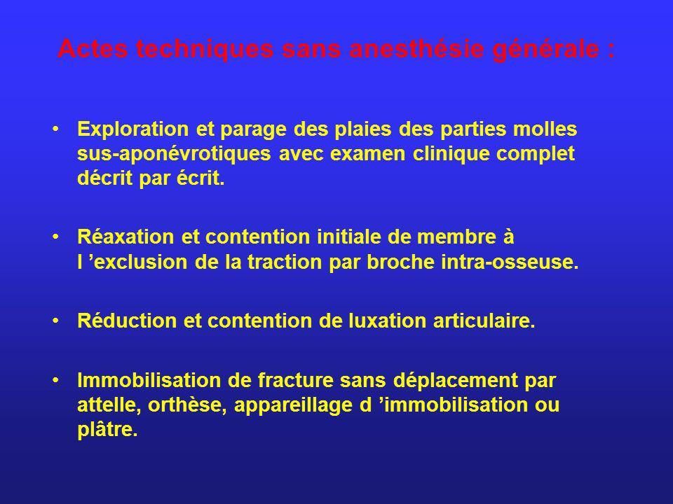 Actes techniques sans anesthésie générale :