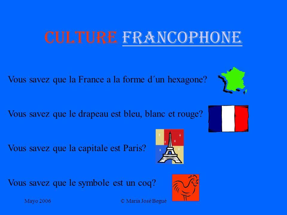 Culture francophone Vous savez que la France a la forme d´un hexagone