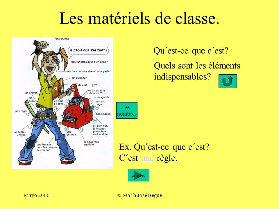 Les matériels de classe.