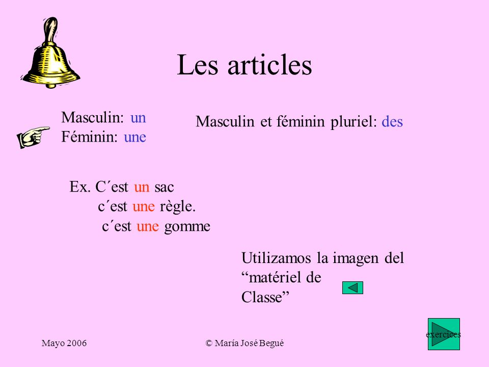 Les articles Masculin: un Masculin et féminin pluriel: des