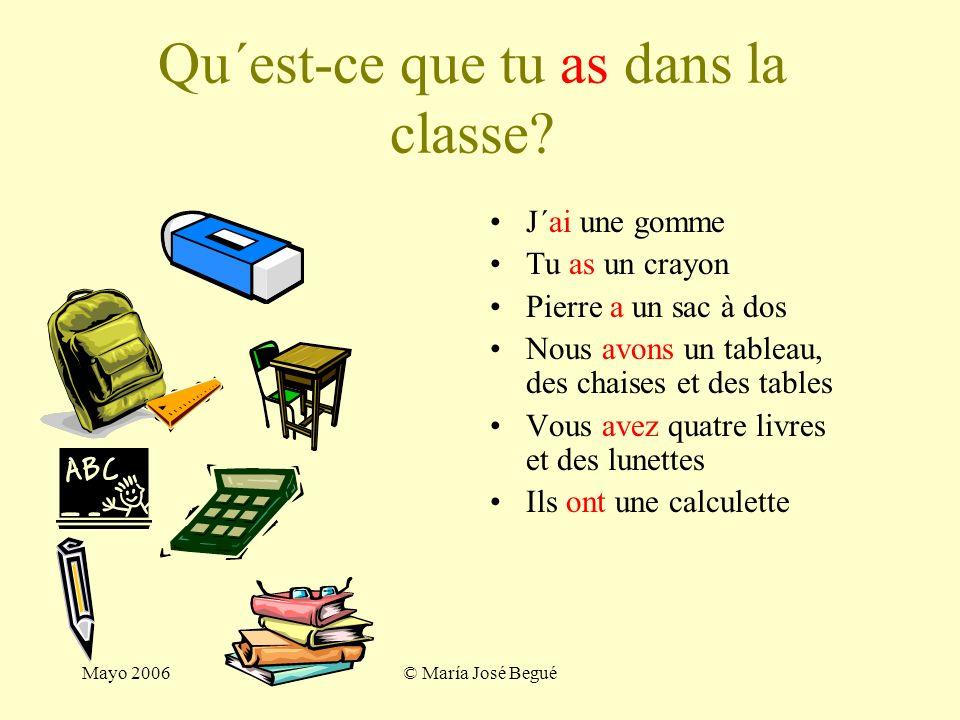 Qu´est-ce que tu as dans la classe