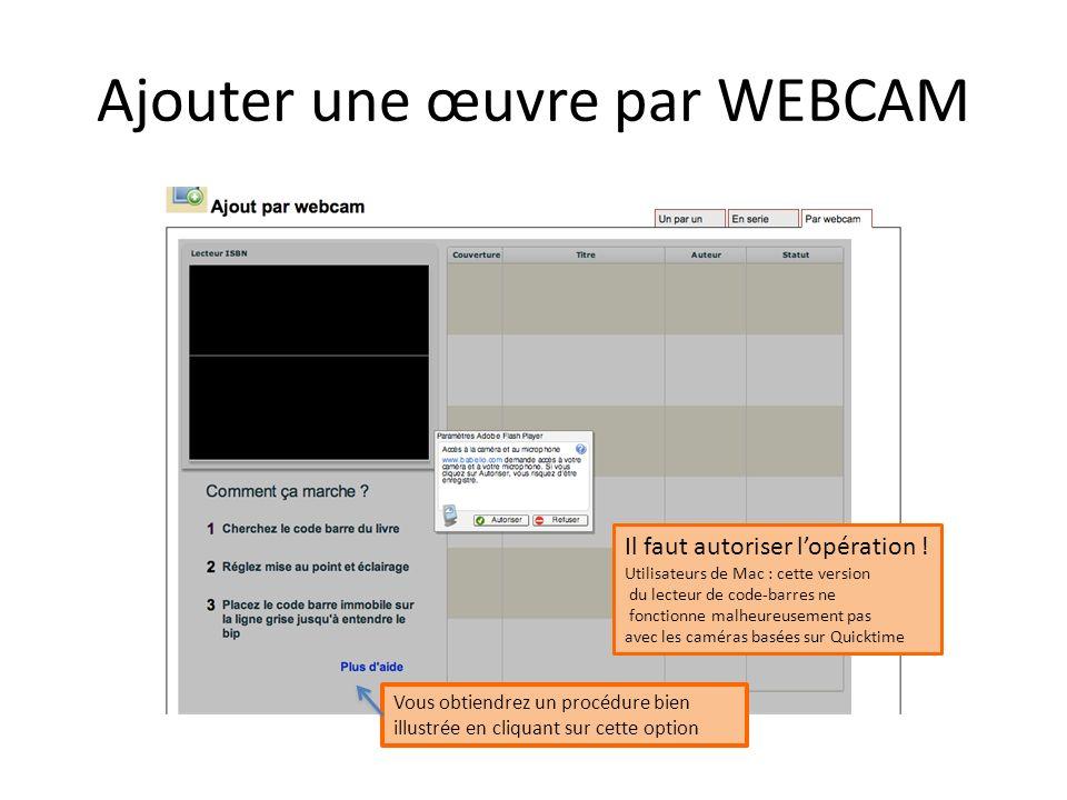 Ajouter une œuvre par WEBCAM