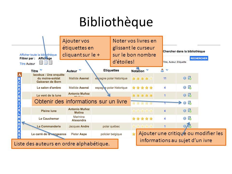 Bibliothèque Ajouter vos étiquettes en cliquant sur le +
