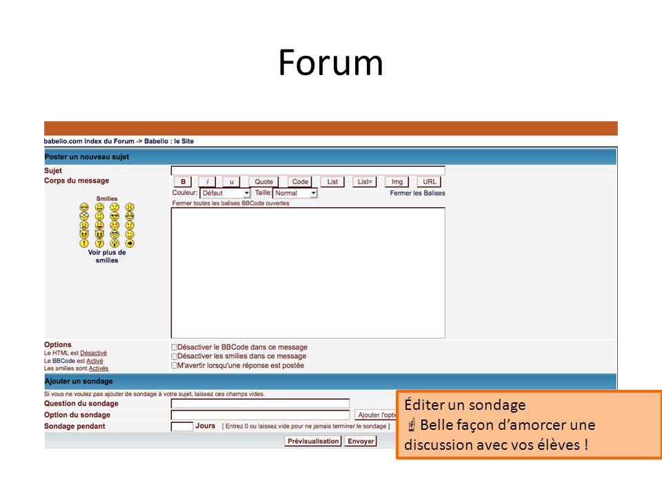 Forum Éditer un sondage