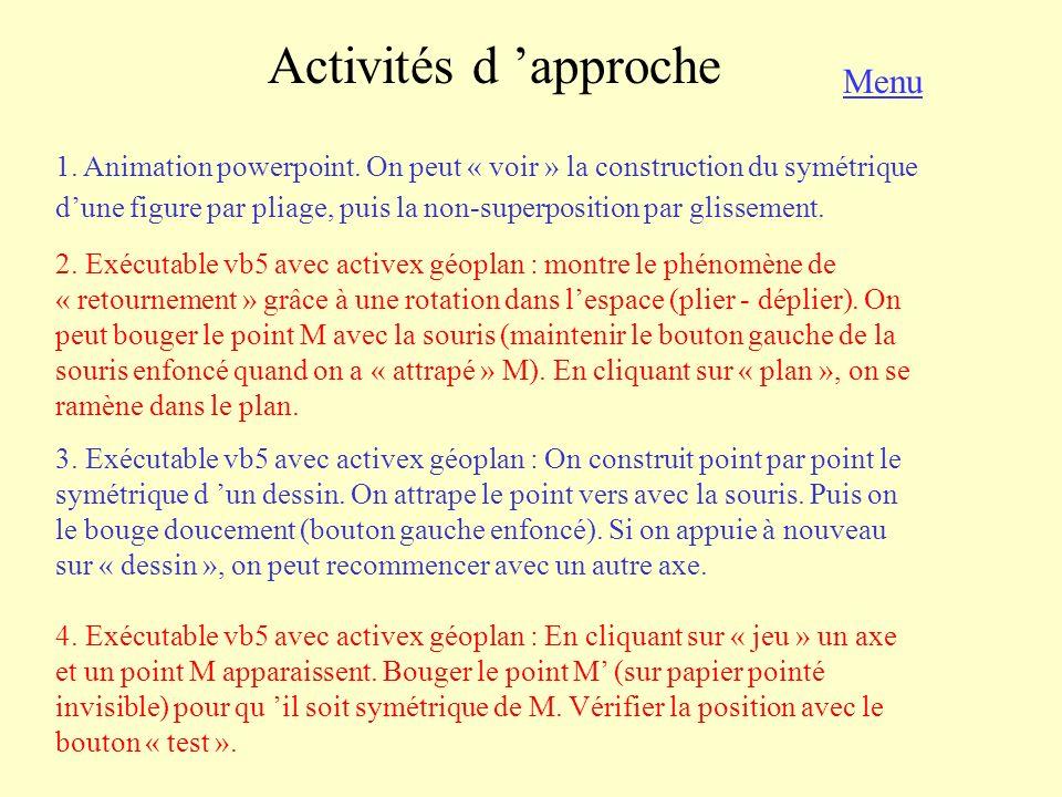 Activités d 'approche Menu