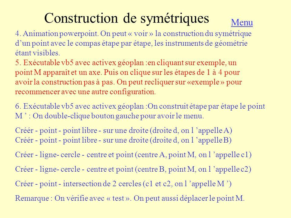 Construction de symétriques