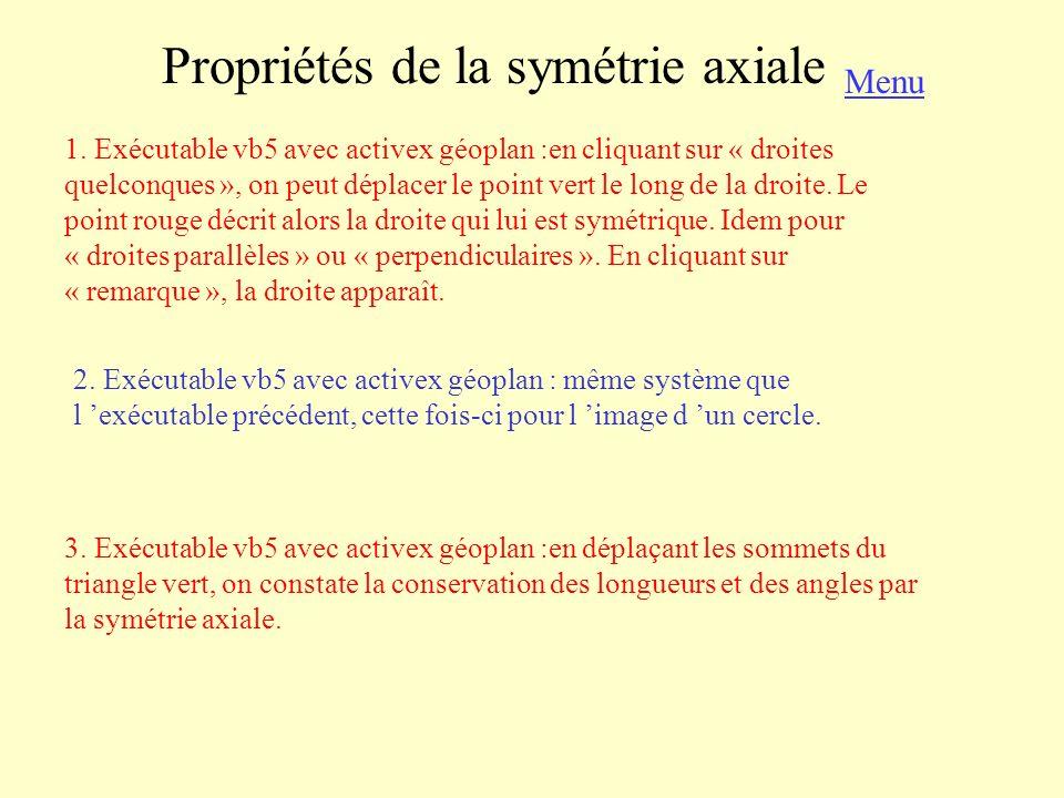 Propriétés de la symétrie axiale