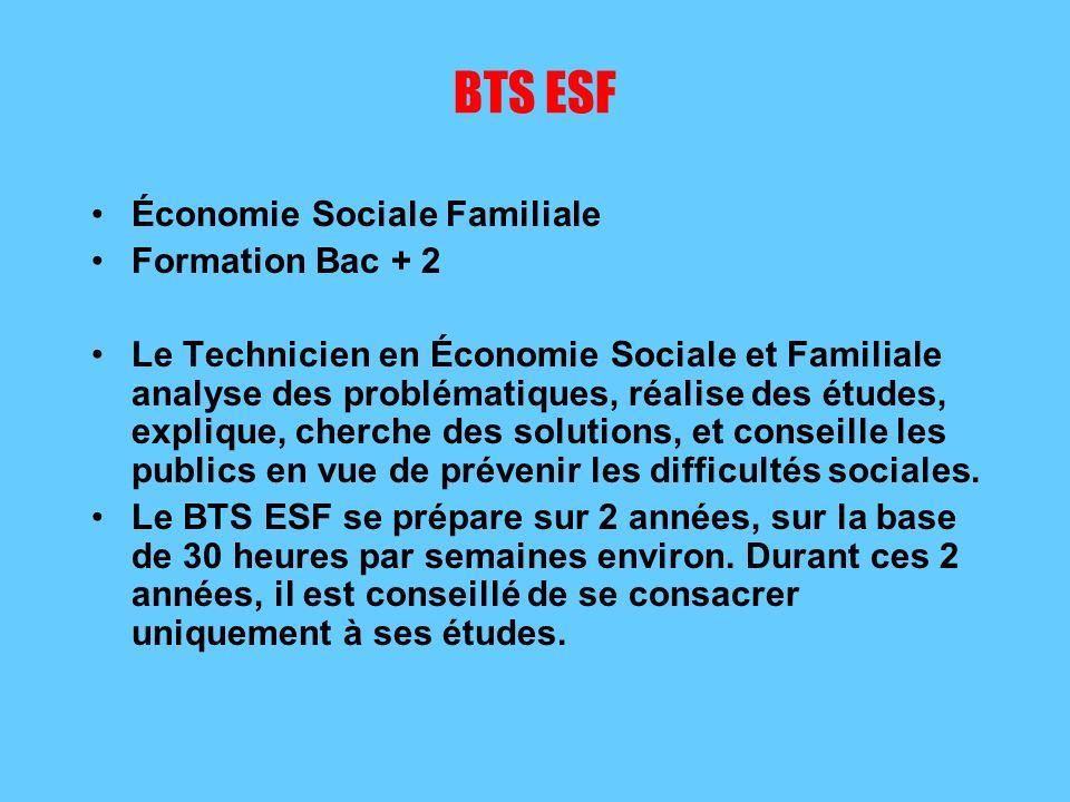 BTS ESF Économie Sociale Familiale Formation Bac + 2
