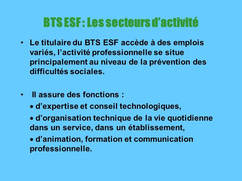 BTS ESF : Les secteurs d'activité