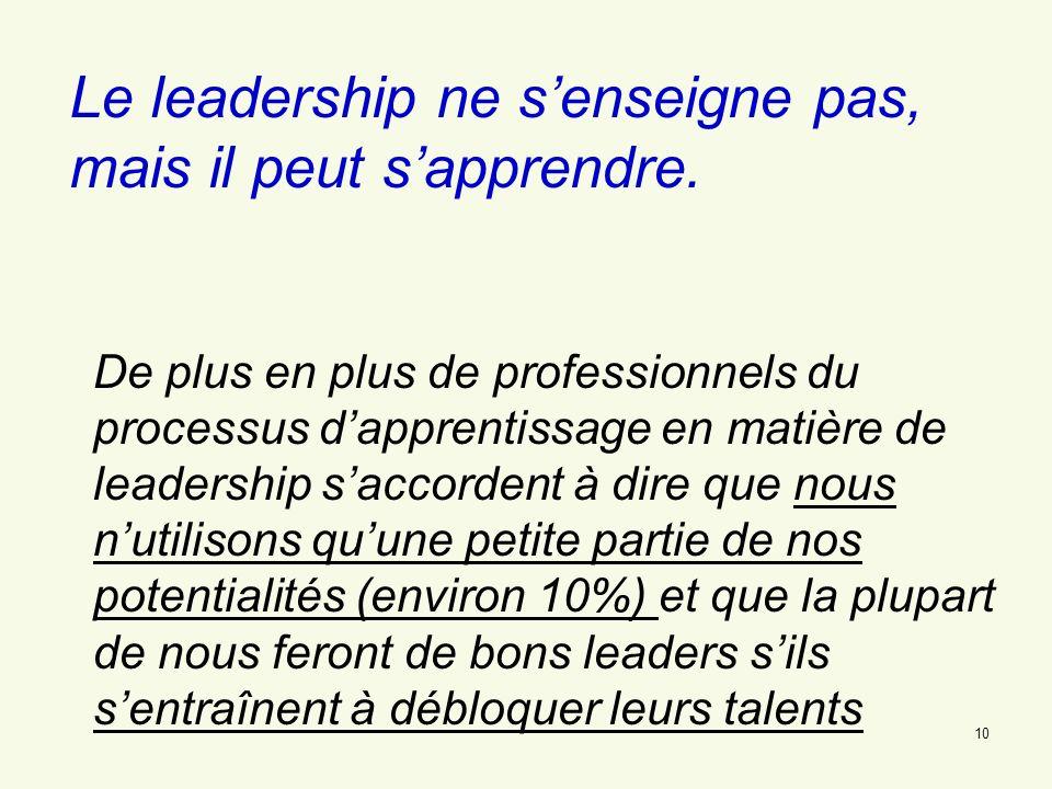 Le leadership ne s'enseigne pas, mais il peut s'apprendre.