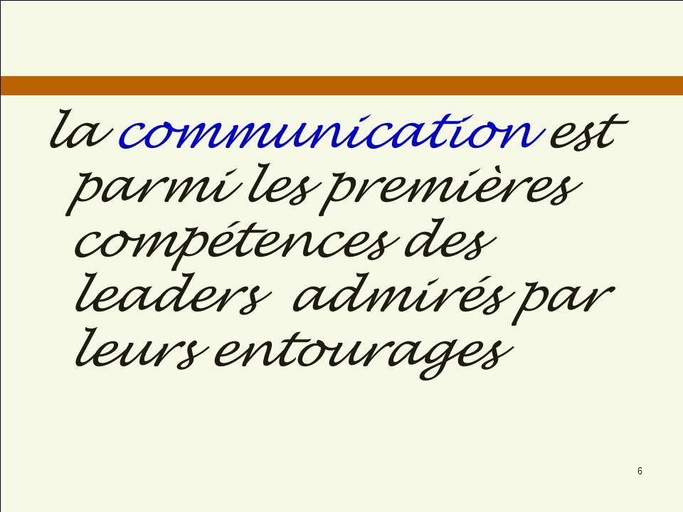 la communication est parmi les premières compétences des leaders admirés par leurs entourages