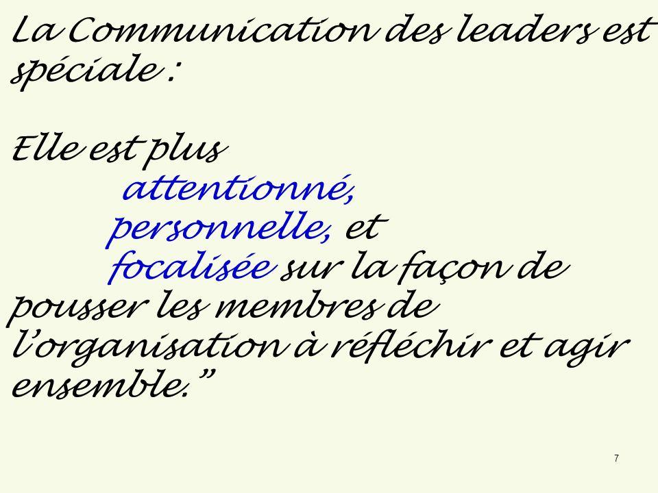 La Communication des leaders est spéciale : Elle est plus attentionné, personnelle, et focalisée sur la façon de pousser les membres de l'organisation à réfléchir et agir ensemble.