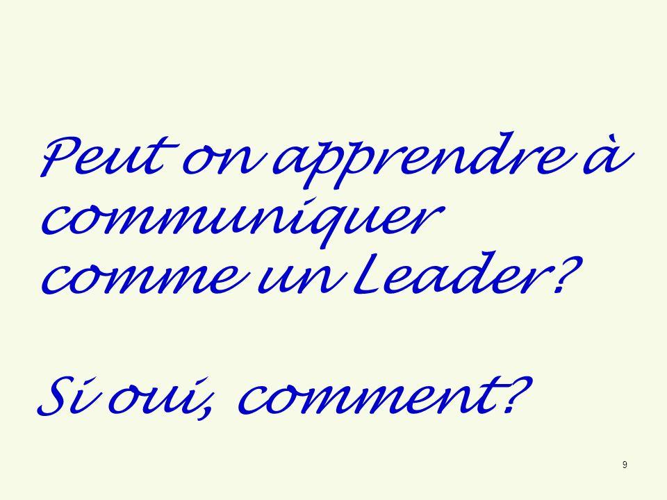 Peut on apprendre à communiquer comme un Leader