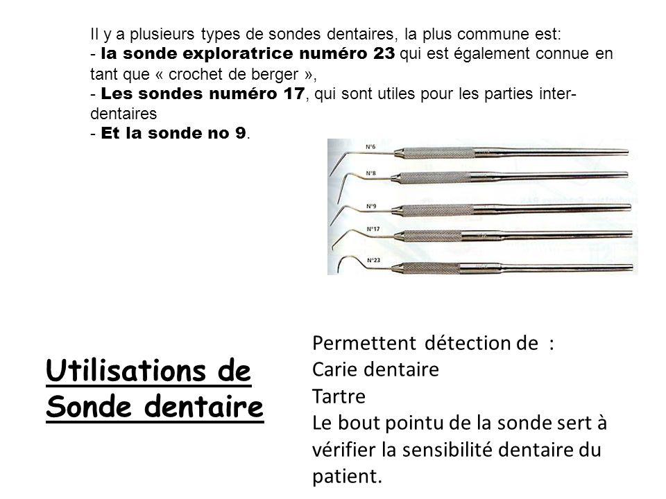 Utilisations de Sonde dentaire Permettent détection de :
