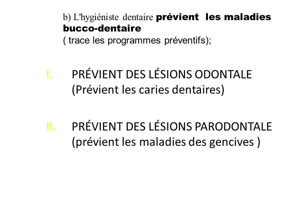 PRÉVIENT DES LÉSIONS ODONTALE (Prévient les caries dentaires)