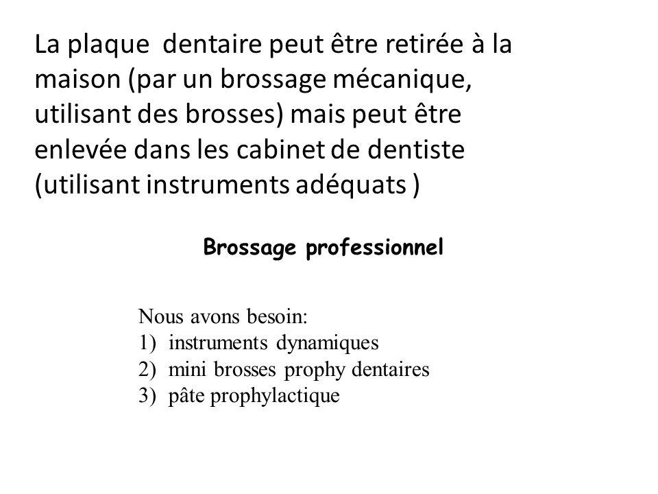 La plaque dentaire peut être retirée à la maison (par un brossage mécanique, utilisant des brosses) mais peut être enlevée dans les cabinet de dentiste (utilisant instruments adéquats )