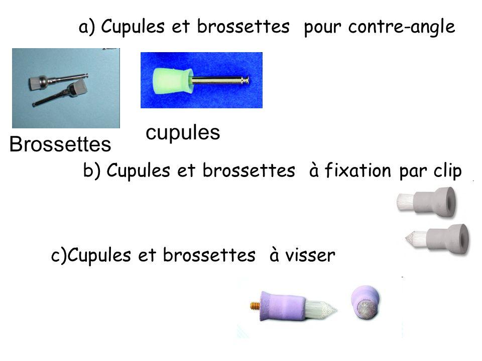 cupules Brossettes a) Cupules et brossettes pour contre-angle