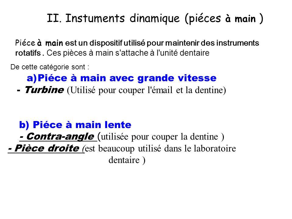 II. Instuments dinamique (piéces à main )