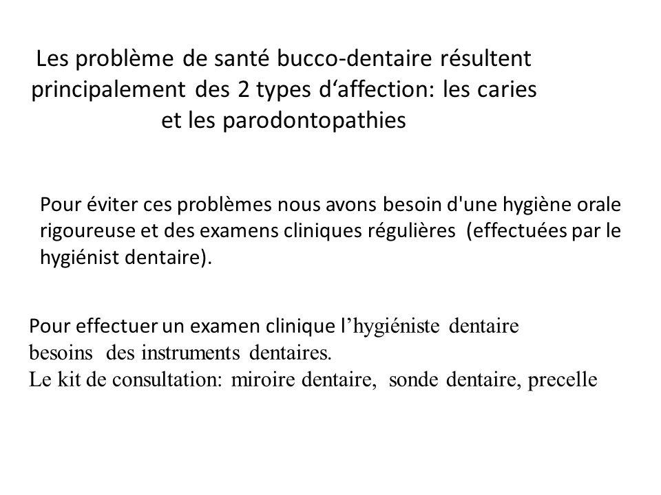 Les problème de santé bucco-dentaire résultent principalement des 2 types d'affection: les caries et les parodontopathies