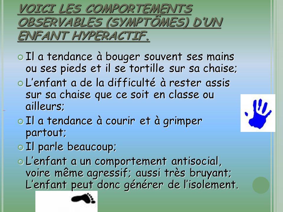 VOICI LES COMPORTEMENTS OBSERVABLES (SYMPTÔMES) D'UN ENFANT HYPERACTIF.