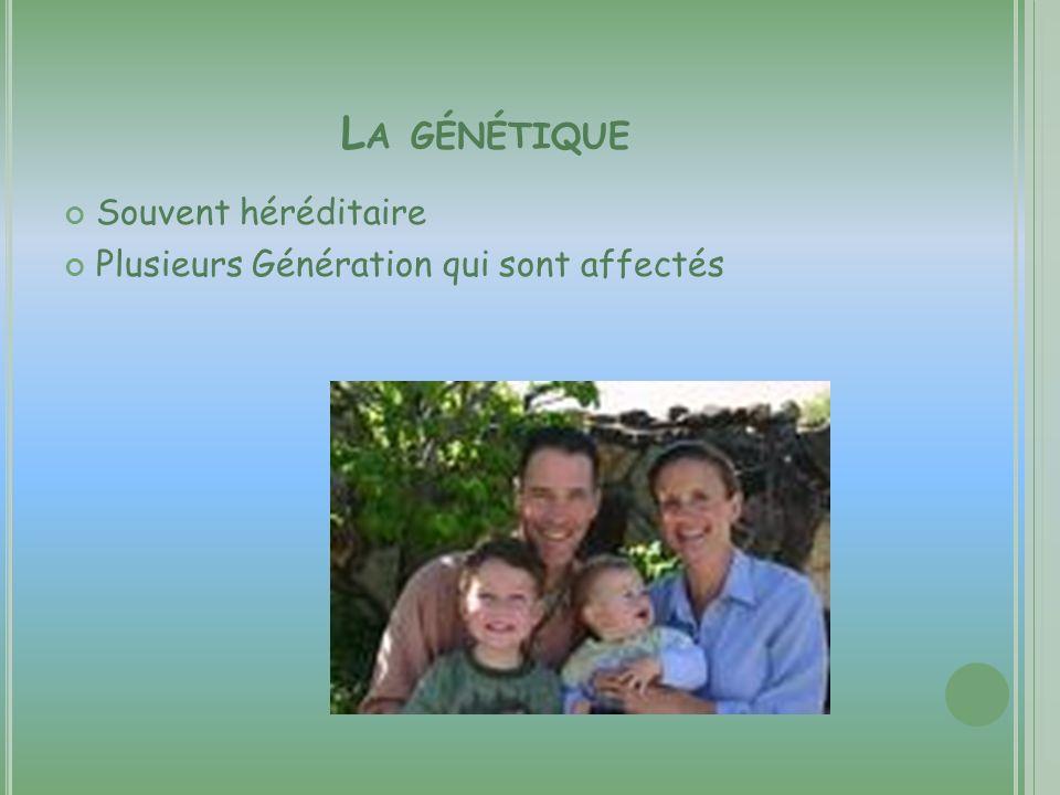 La génétique Souvent héréditaire