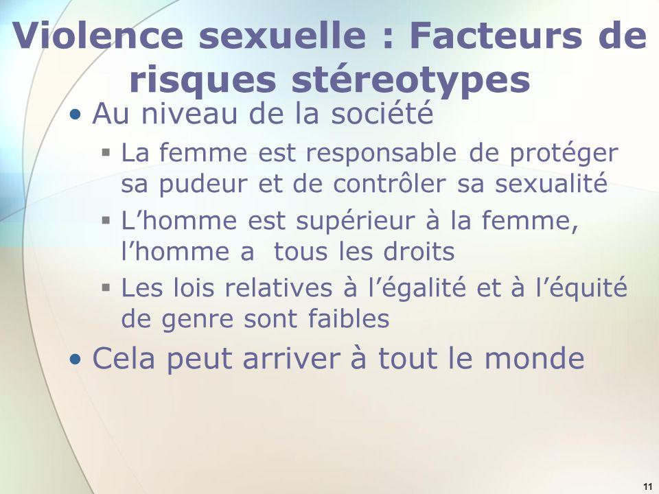 Violence sexuelle : Facteurs de risques stéreotypes