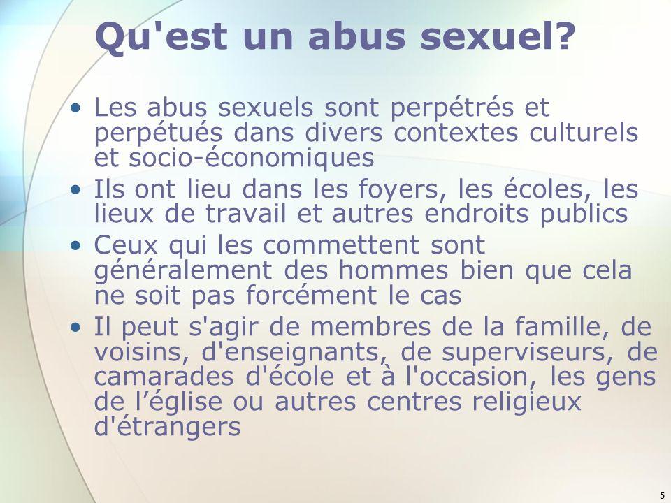 Qu est un abus sexuel Les abus sexuels sont perpétrés et perpétués dans divers contextes culturels et socio-économiques.